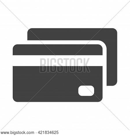 Linear Debit Payment By Card Icon Vector Illustration. Pay Financial Identity With Electronic Money