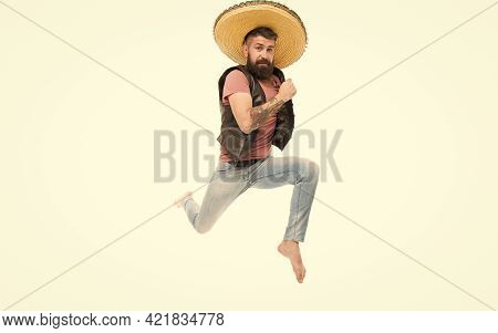 Celebrate Traditional Mexican Holiday. Guy Happy Cheerful Face Having Fun Dancing Jumping. Life In M