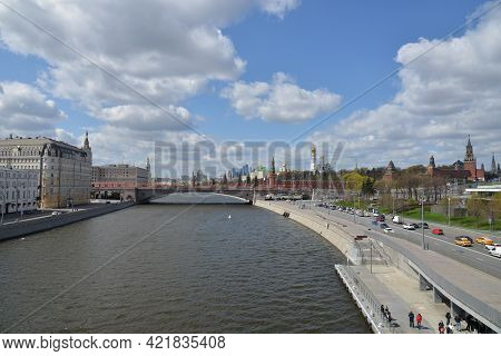 Moscow, Russia - May 5, 2021: Panoramic View Of The Red Square With Moscow Kremlin. View Of The Mosc