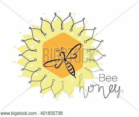 Honey Bee. Linear Sunflower. Honeycomb. Concepts Logo, Emblem. Bee Icon. Honey Flying Bee. Insect.