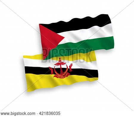 National Fabric Wave Flags Of Brunei And Palestine Isolated On White Background. 1 To 2 Proportion.