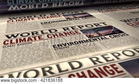 Climate Change World Report Retro Newspaper Printing Press