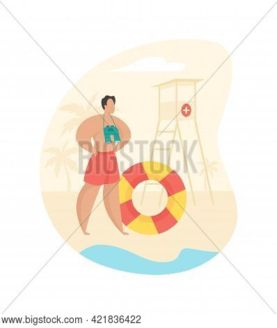 Rescue Service On Beach. Male Character With Binoculars And Lifebuoy Watches Beach. Protection Safet