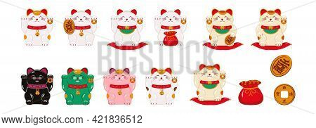 Japanese Cat Maneki - Neko For Good Luck, Money, Well-being With Raised Paws. Asian Figurines For A