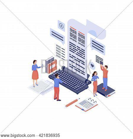 Content Marketing Isometric Vector Illustration. Marketers, Copywriter Create Advertising Seo Texts,