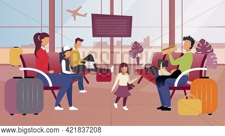 Tourists In Airport Flat Vector Illustration. Passengers In Waiting Room Expecting Departure, Boardi