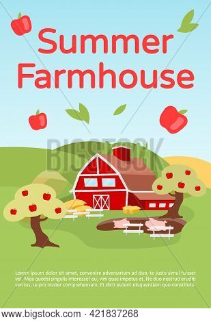 Summer Farmhouse Brochure Template. Countryside Farming. Flyer, Booklet, Leaflet Concept With Flat I