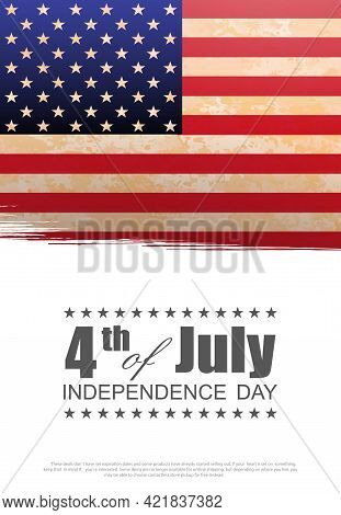 Solemn Greeting Card With Textured Usa Flag, Independence Day, Design Component.