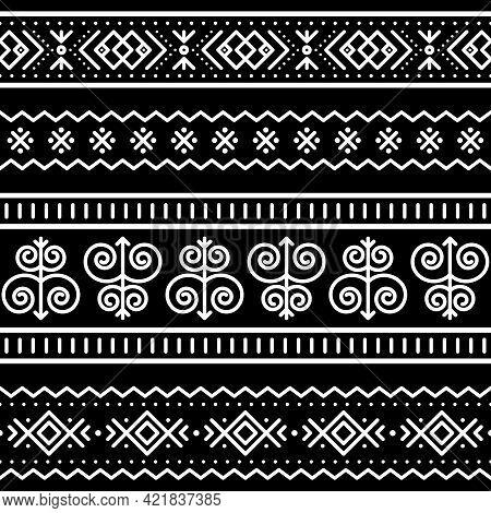 Slovak Tribal Folk Art Vector Seamless Geometric Long Horizontal Pattern Set, Zig-zag, Swirls, Dots