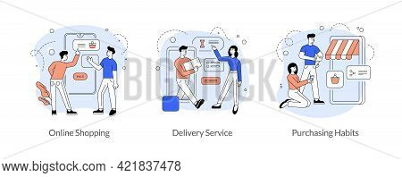 Commerce And Trade In Internet Flat Linear Vector Illustration Set. Online Shopping, Delivery Servic