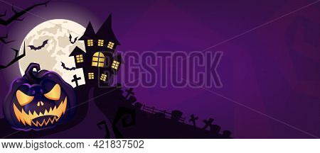 Halloween Scary Purple Vector Background. Spooky Graveyard And Haunted House At Night Cartoon Illust