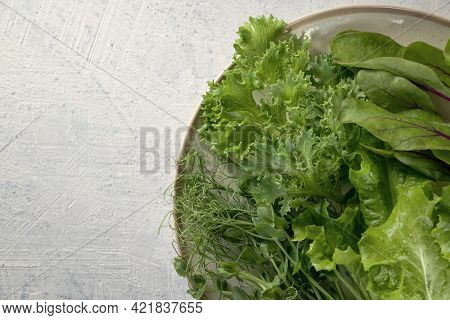 Banner With Top View Of Plate With Mix Types Of Salads And Cucumber, Red Tomato, Fork.young Juicy Sp