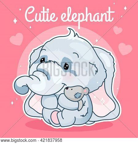 Cute Elephant Kawaii Character Social Media Post Mockup. Cutie Elephant Lettering. Positive Poster T