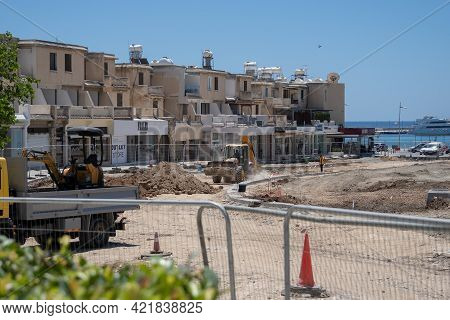 May 11, 2021 Cyprus, Paphos. Construction Machinery During Road Repair Work At Construction Site Nea