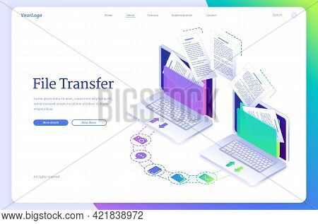 File Transfer Isometric Landing Page, Digital Data Migration Between Computers. Transmission Service