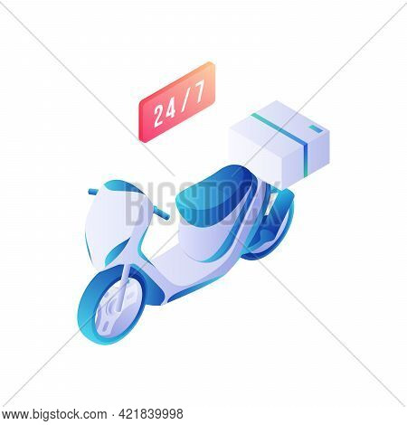 Scooter Delivery Service Isometric Vector. Modern White Bike With Blue Electric Accents With Box On