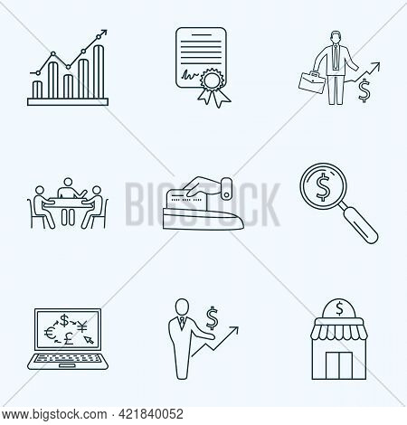 Financial Icons Line Style Set With Search Money, Graph, Make Payment And Other Storefront Elements.