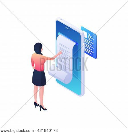 Online Statement With Document Isometric Illustration. Female Character Analyzes Sheet Of Web Record