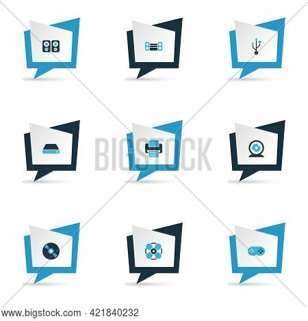Gadget Icons Colored Set With Cd, Printer, Web Camera And Other Webcam Elements. Isolated Illustrati