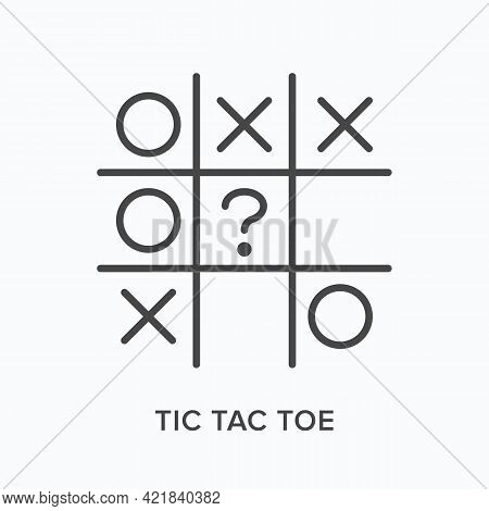 Tic Tac Toe Flat Line Icon. Vector Outline Illustration Of Criss Cross. Black Thin Linear Pictogram