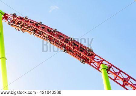 Amusement Trolley Makes Loop Turns Upside Down, Roller Coaster.