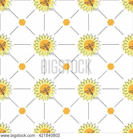 Honey Bee Background. Linear Sunflower, Honeycomb And Bee Swarm On A Seamless Pattern. Honey Bees.