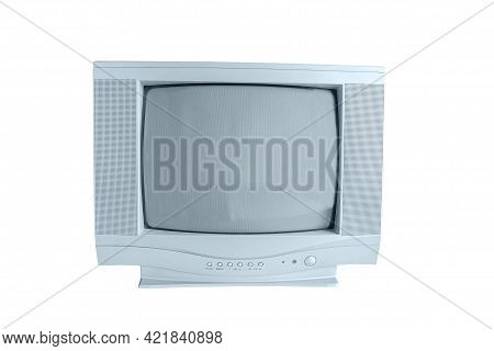 Old Crt Tube Tv Set And Old Technology On White Background