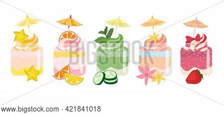 Smoothies Summer Desserts Set With Umbrella Toppers. Sweet, Vegetables, Green, Berries And Citrus Ta