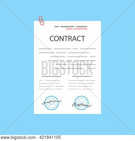 Electronic Contract Or Digital Signature Concept In Vector Illustration. Online E-contract Document