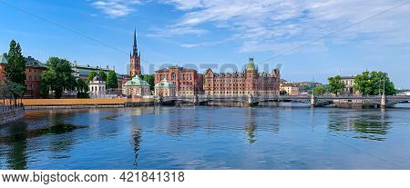 Stockholm, Sweden - June 7, 2021: Panoramic View Of Stockholm City In Sweden.