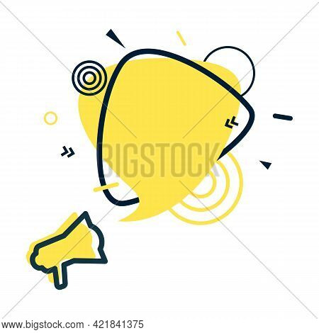 Speech Bubble And Megaphone With Abstract Geometric Shapes. Yellow Sticker And Black Frame On White