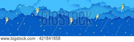 Rain Thunder Lightning And Clouds In The Paper Cut Style. Vector Storm Weather Concept With Falling