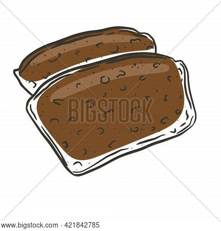 Piece Of Dark Bread, Vector. A Sliced Portion Of A Baked Flour Product. Traditional Bakery Product.