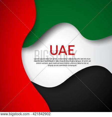 Abstract Waving Flag Of United Arab Emirates. Paper Cut. Creative Background For Design Card Uae Pat