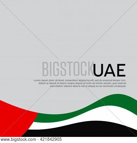 Abstract Waving Flag Of United Arab Emirates. Creative Background For The Design Of The Patriotic Ho