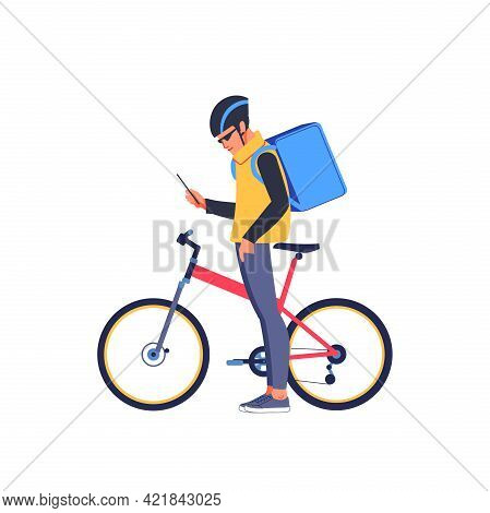 Man Courier Using A Map App On Mobile Phone To Find The Delivery Address. Bicycle Delivery Food Serv