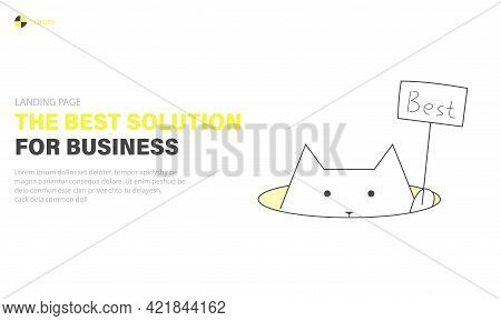 Best Business Solutions Landing Page, Cat Is Holding A Sign With The Word Best, Web Banner