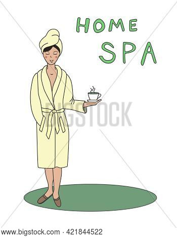 A Young, Contented Woman In A Bathrobe Drinks Tea After Taking A Spa Treatment. Vector Illustration