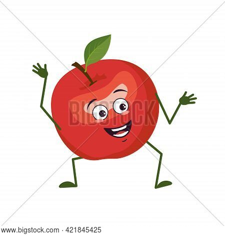 Cute Apple Character With Joy Emotions, Smiling Face, Happy Eyes, Arms And Legs. A Mischievous Red F