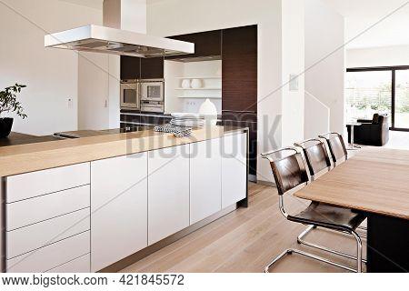 Barcelona, Spain - August 4 2018: Modern Kitchen Interior Design In Minimalism Style. Contemporary V