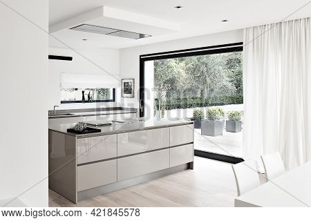 Cologne, Germany - August 24 2020: Modern Kitchen Interior Design In Minimalism Style. Contemporary