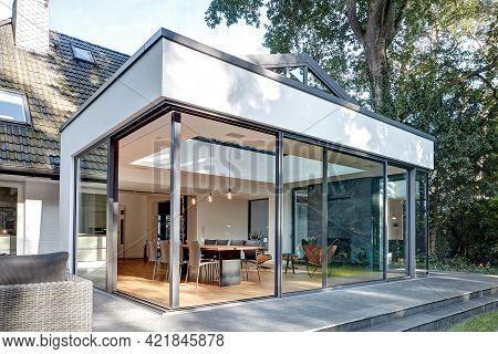 Warsaw Poland - August 7, 2018: Modern Villa House Exterior In Garden