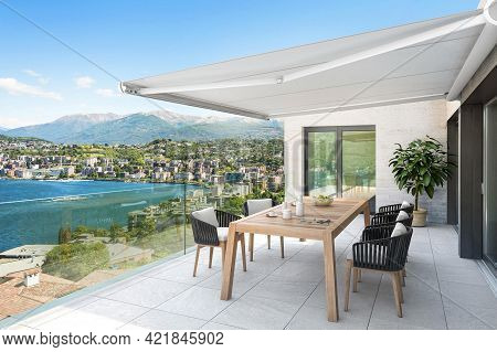 Spain, Barcelona - September 14, 2018: Outside Exterior With Sea View From Terrace