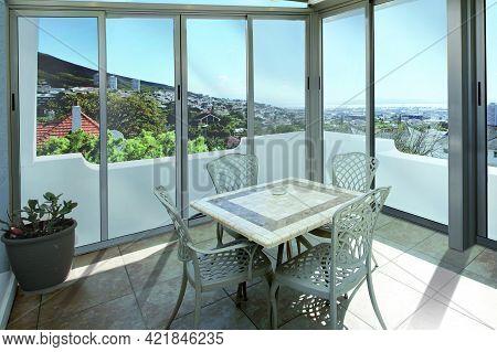 Spain, Barcelona - August 12 2019: Villa Terrace In Summer Garden. Modern Villa Exterior
