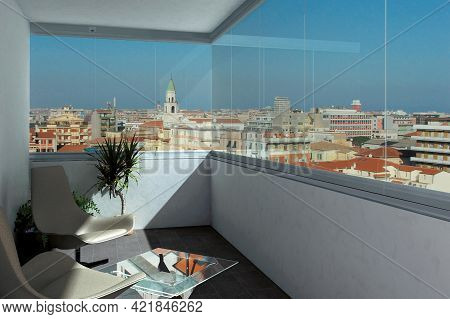 Slovakia Bratislava- May 17, 2018: Balcony In A Modern Apartment With Furniture, Flowers And City Vi