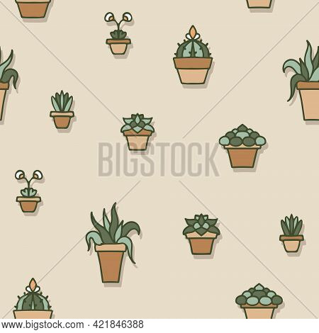 Vector House Plants In Terracotta Pots On Beige Seamless Pattern Background. Perfect For Fabric, Scr