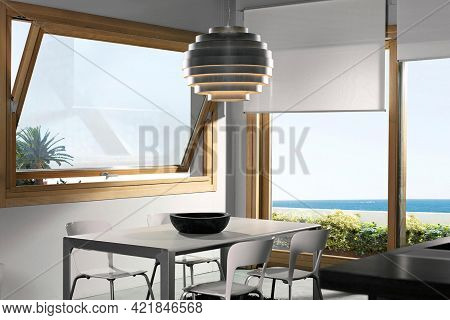 Spain, Barcelona - August 24 2020: Villa Terrace In Summer Garden. Modern Villa Exterior