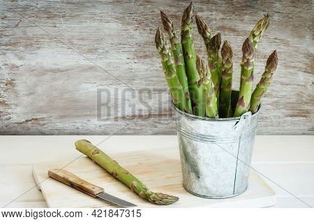 Metal Pail With Green Asparagus, Close Up