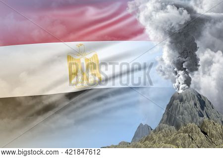 High Volcano Blast Eruption At Day Time With White Smoke On Egypt Flag Background, Troubles Because
