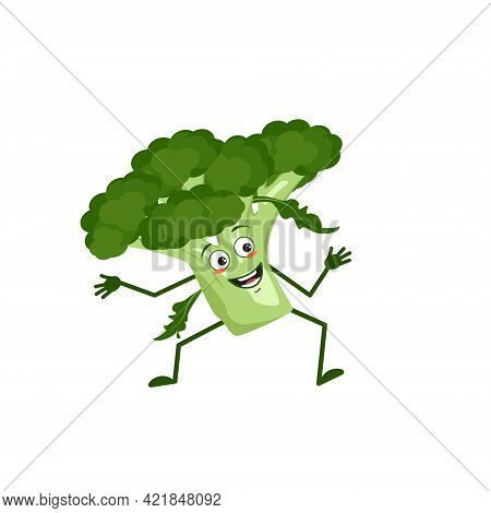 Cute Broccoli Character With Joy Emotions, Smiling Face, Happy Eyes, Arms And Legs. A Mischievous Gr